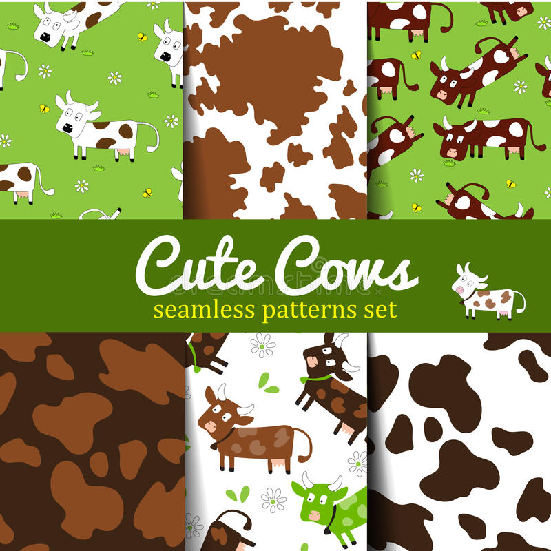 Cow-set-1. Set of seamless patterns with fun cute cow and cow skin texture. For poster, print, wallpaper, banner. backgrounds with grazing cows and cow dots vector illustration