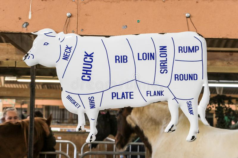 Cow shaped Sign showing beef cuts. A old enamel sigh showing beef cuts neck chuck rib loin sirloin rump round flank plate shin brisket shank at country show stock photography