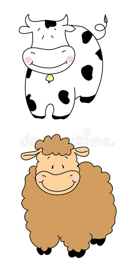 Cow and sheep stock images