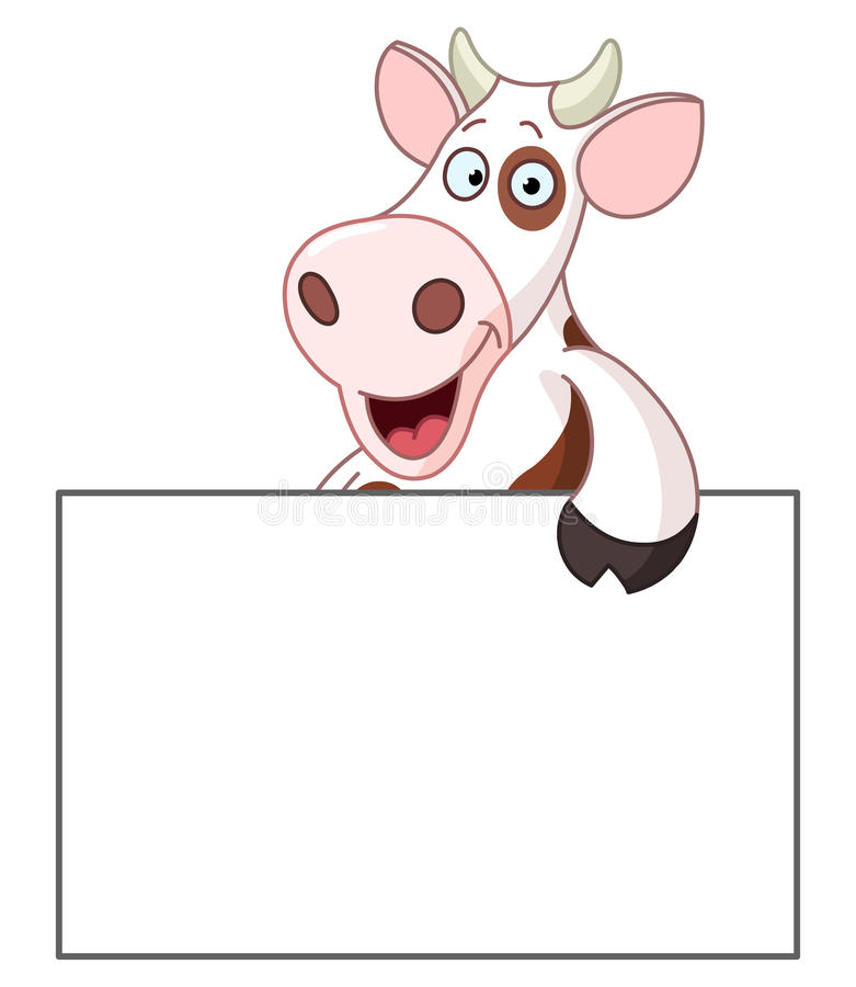 Cow with sign. Smiling cow holding a blank sign royalty free illustration