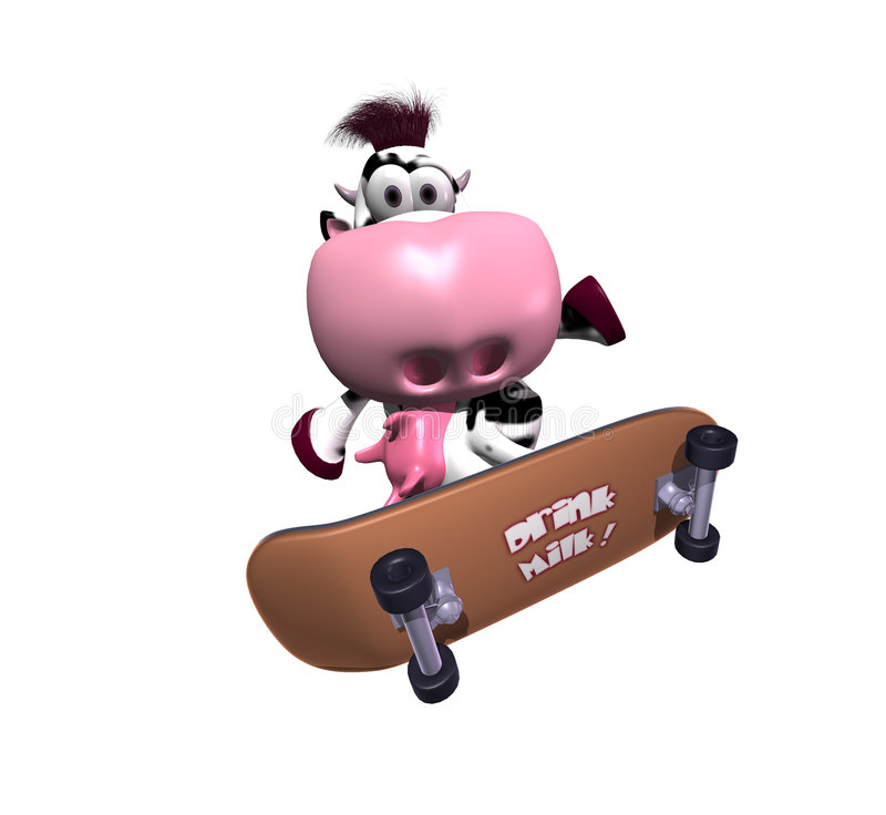 Cow On A Skateboard Royalty Free Stock Photography