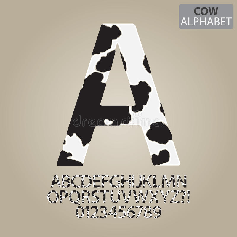 Cow Skin Alphabet and Numbers Vector vector illustration