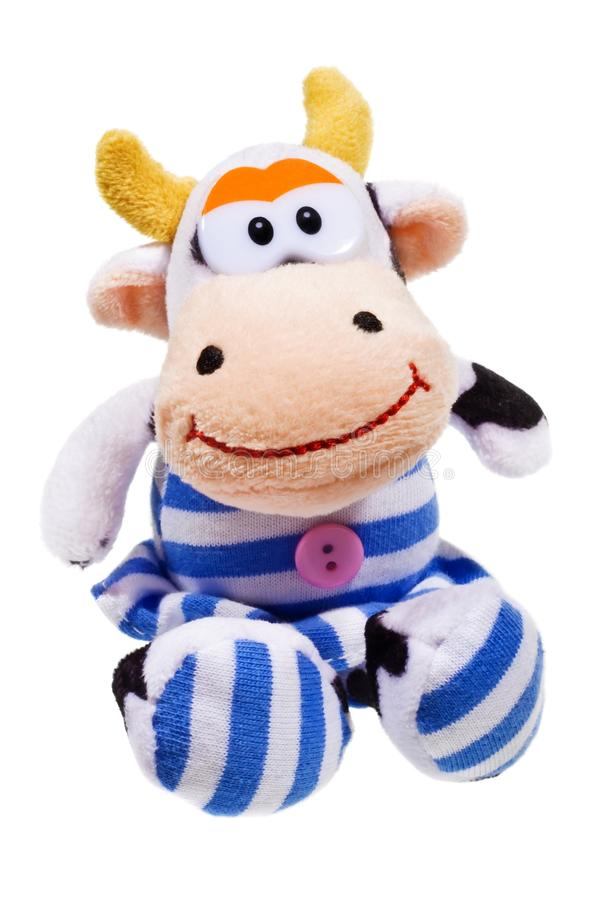 Cow toy. Happy cow toy isolated on the white background stock photos