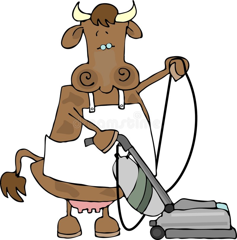 Download Cow using a vacuum stock vector. Image of illustration - 1720496
