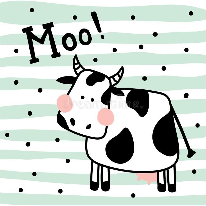 Cow. Vector illustration of a cute cow on striped background royalty free illustration