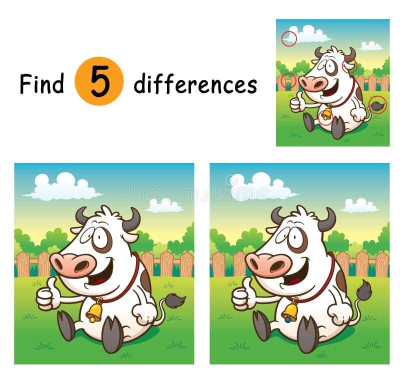 Cow. Vector Illustration of Game for children find differences - Cow vector illustration