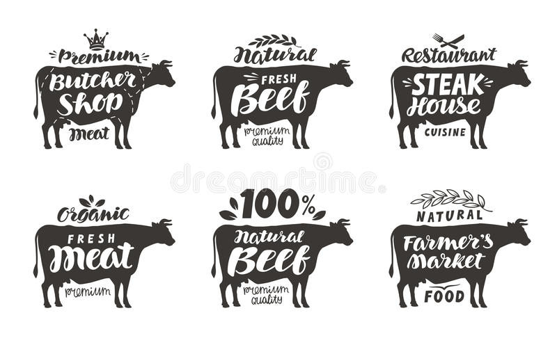 butcher cow labels stock vector  illustration of product