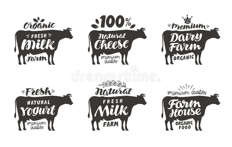 Cow. Vector set food labels, badges and icons. stock illustration