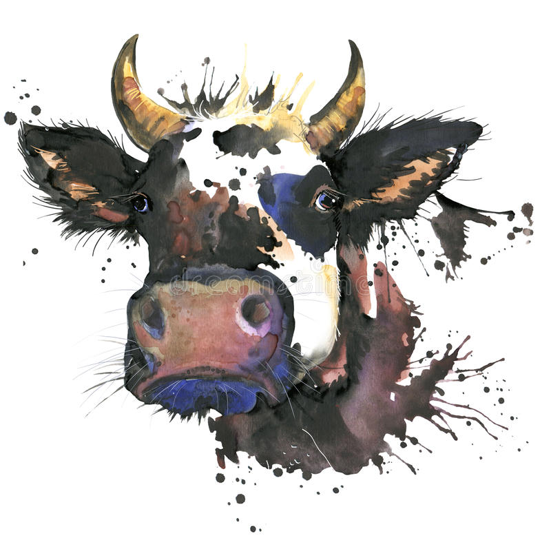 Cow watercolor graphics. cow animal illustration. With splash watercolor textured background. unusual illustration watercolor cow