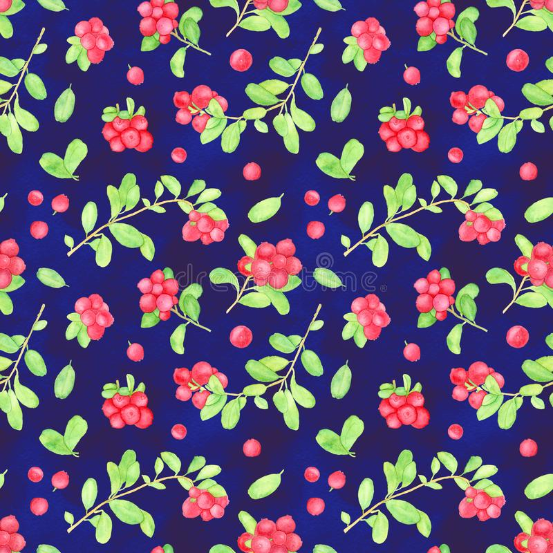 Cowberry watercolor seamless pattern stock illustration