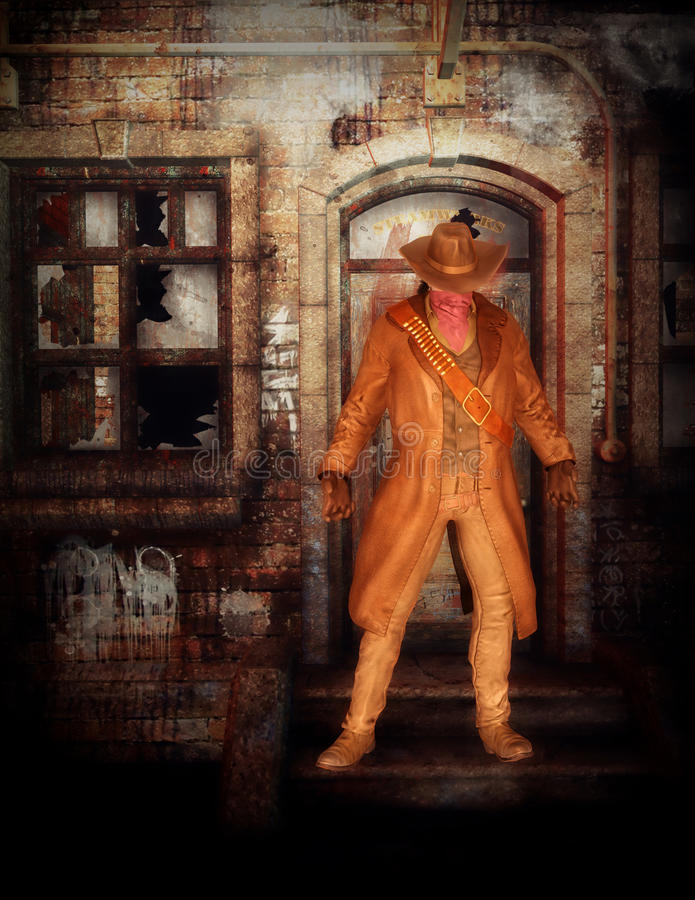 Cowboy à l'extérieur du bâtiment image stock