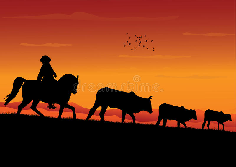 Download Cowboy stock vector. Image of herd, bovine, baby, farm - 13241065