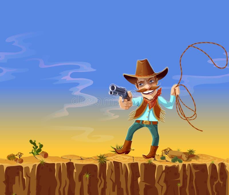 cowboy américain de bande dessinée avec l'arme à feu et le lasso illustration libre de droits