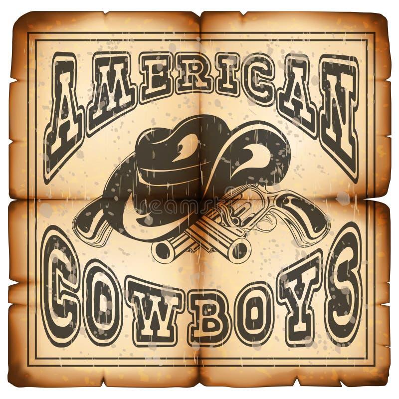 Cowboy americano su carta varietà 1 illustrazione di stock