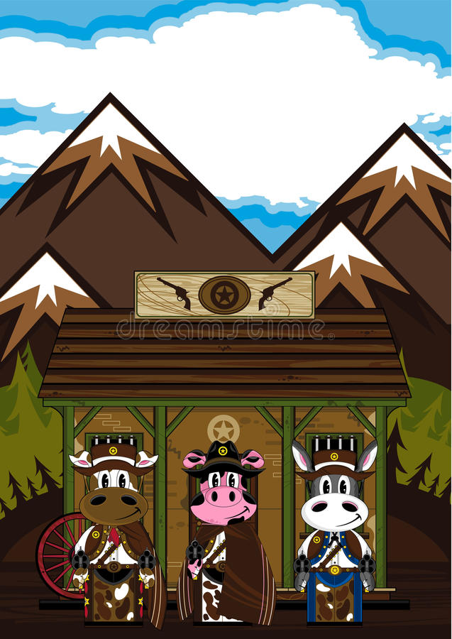 Cowboy animali di selvaggi West alla prigione royalty illustrazione gratis