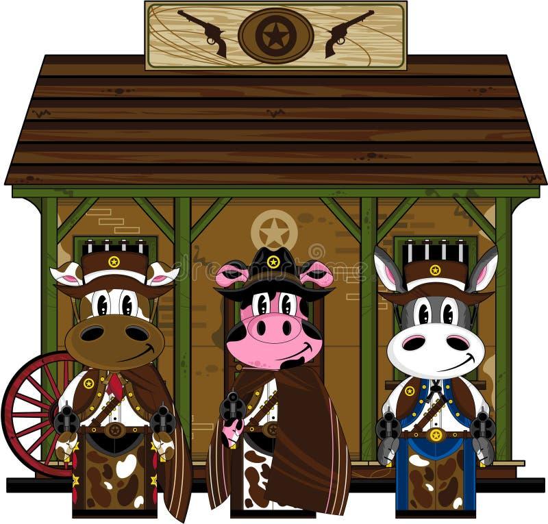 Cowboy animali di selvaggi West alla prigione illustrazione di stock