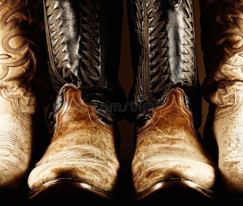Cowboy anziano Boots - alto contrasto immagine stock libera da diritti
