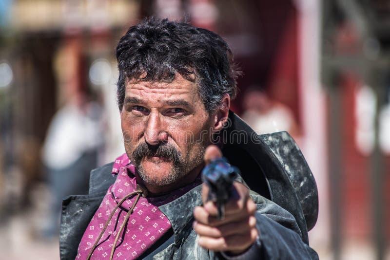 Cowboy arrabbiato With Gun immagine stock libera da diritti