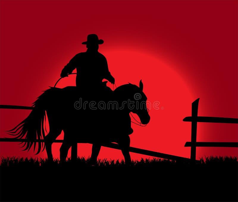 Cowboy au-dessus de coucher du soleil illustration libre de droits
