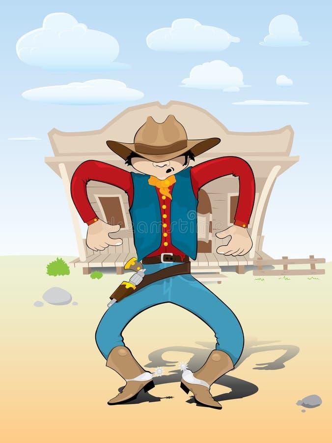 Cowboy auf Bewegung lizenzfreie abbildung