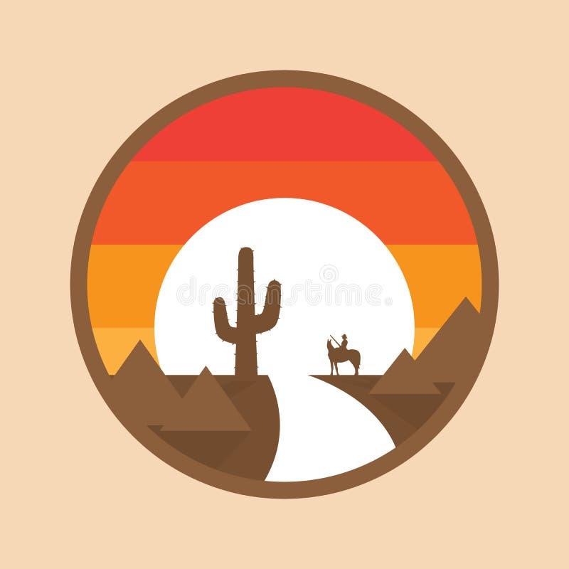 Cowboy auf einem Pferd in der Wüste, Kaktus, Sonnenuntergang Vektorillustration des runden Hintergrundes vektor abbildung