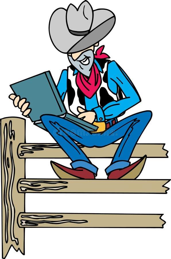 Cowboy auf Laptop stock abbildung