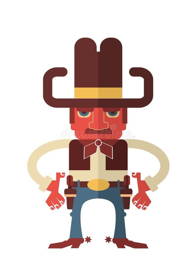 Cowboy avec des armes à feu. Vecteur d'isolement sur le blanc illustration stock