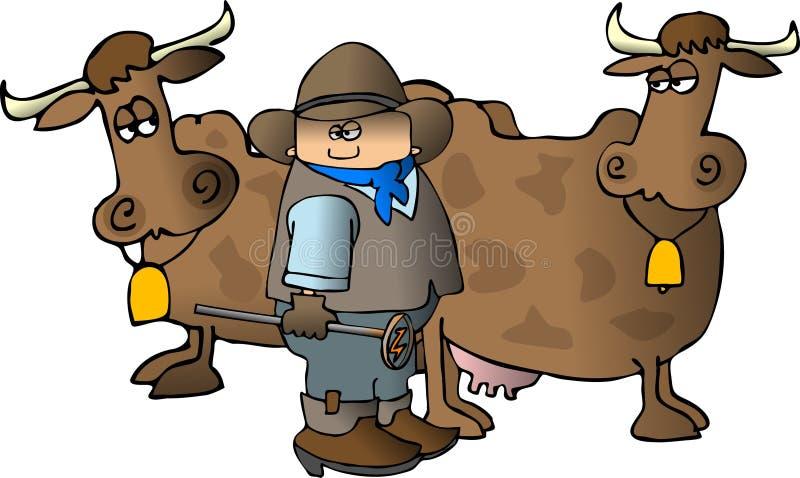 Cowboy avec du fer de marquage à chaud d'A illustration libre de droits