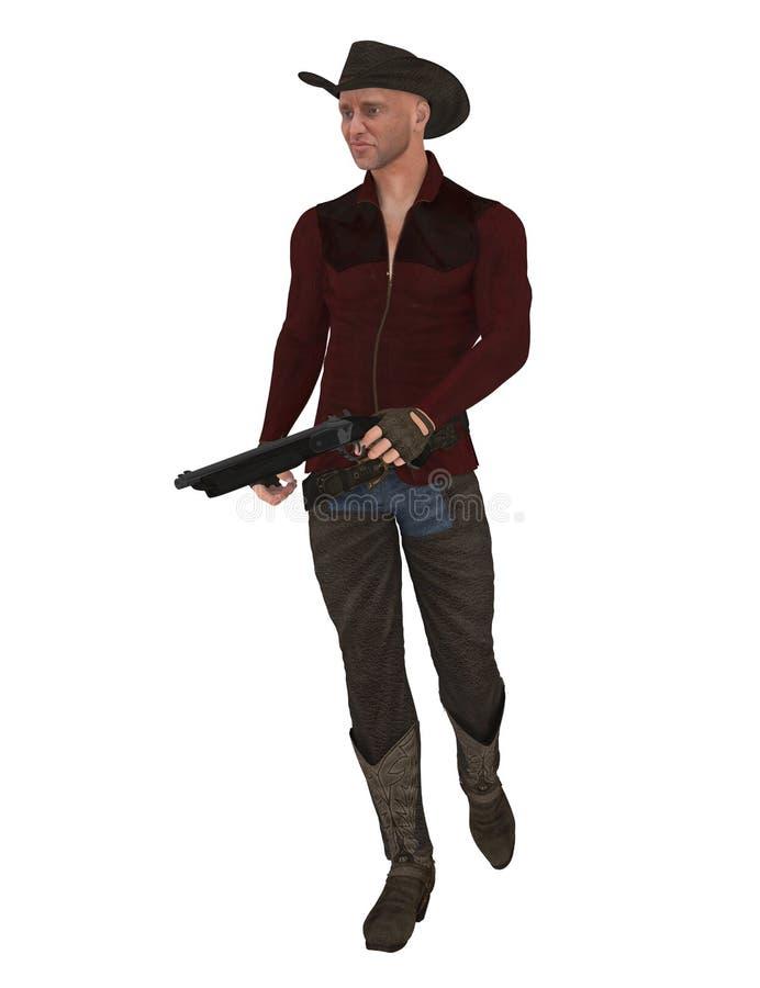Cowboy avec le fusil de chasse illustration stock