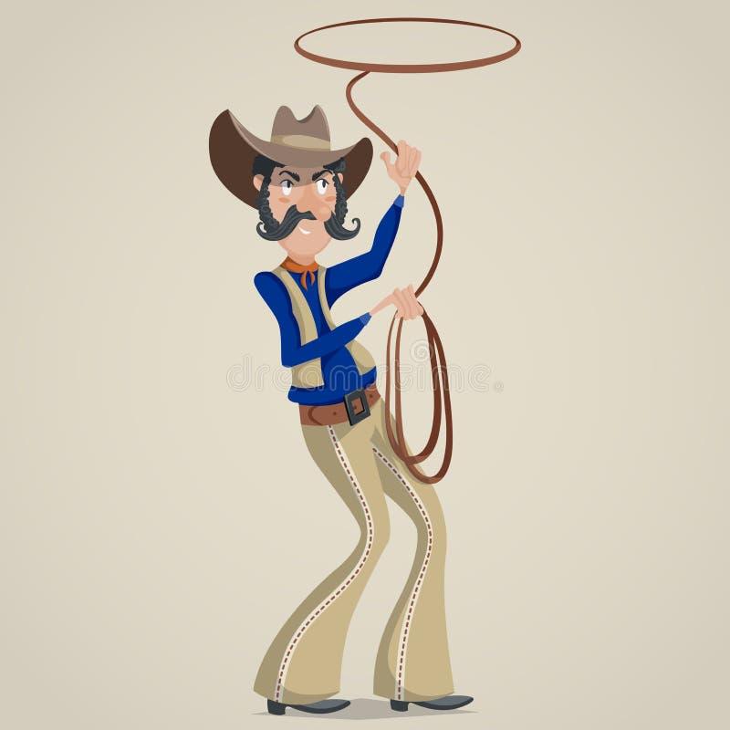 Cowboy avec le lasso personnage de dessin animé drôle illustration de vecteur
