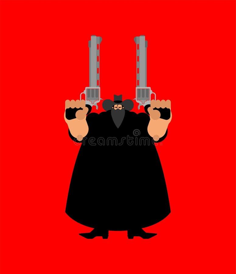 Cowboy Bandit et arme à feu Bandit occidental sauvage Homme occidental illustration stock