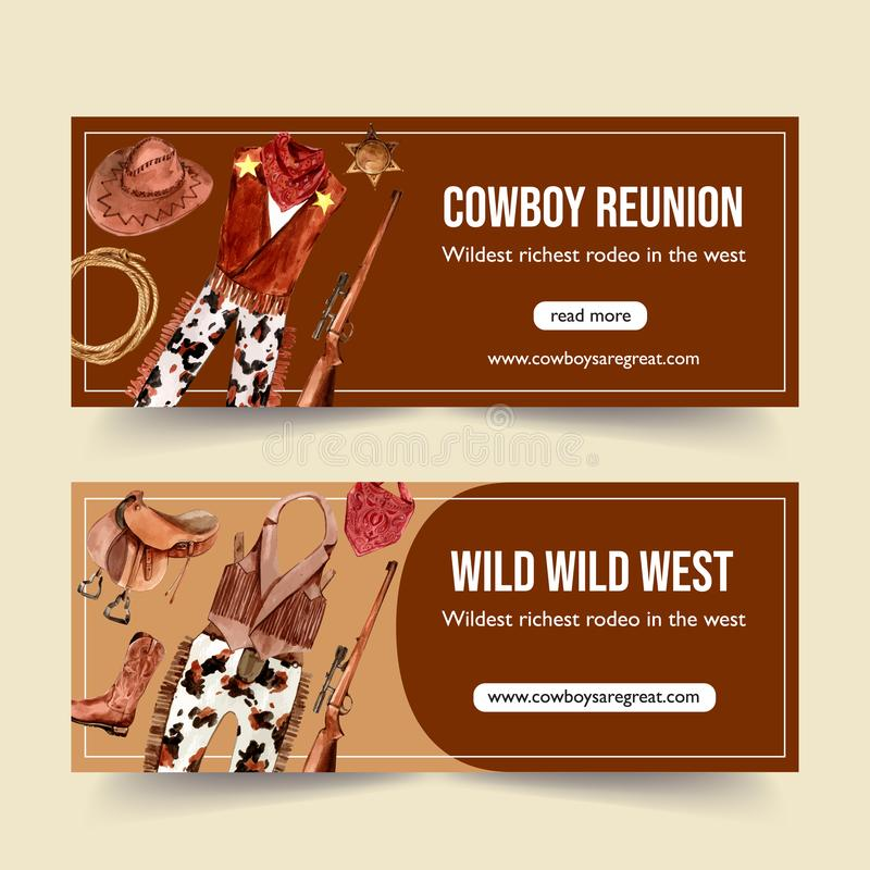 Cowboy banner design with cowboy outfit and equipment watercolor illustration vector illustration
