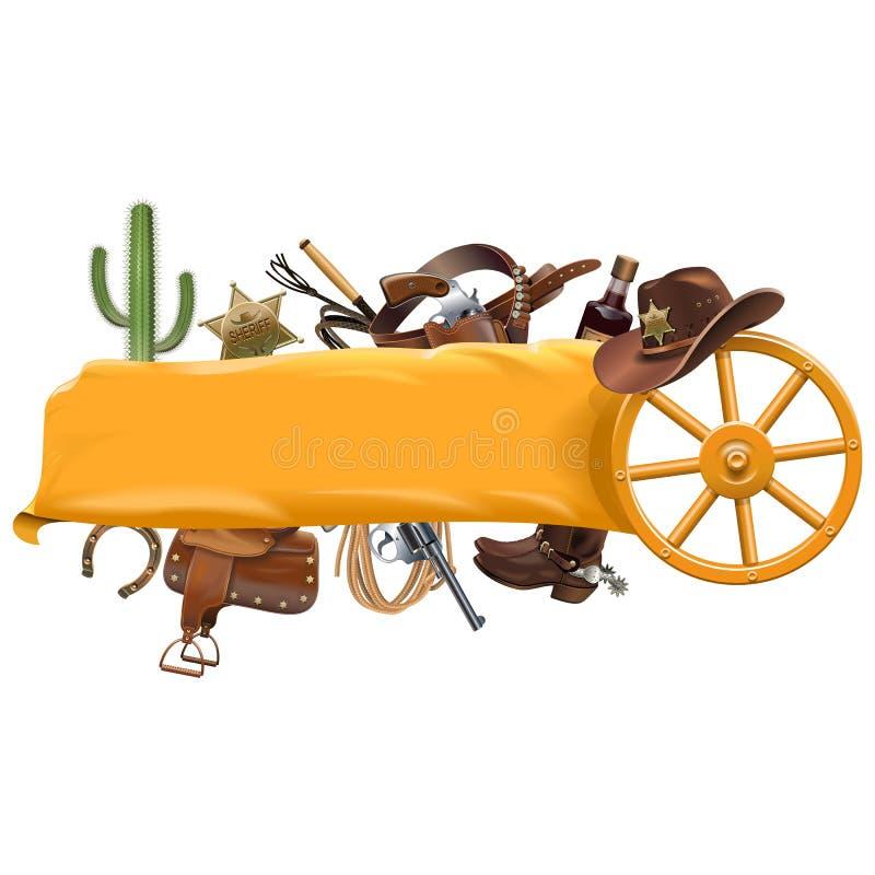 Cowboy Banner di vettore royalty illustrazione gratis