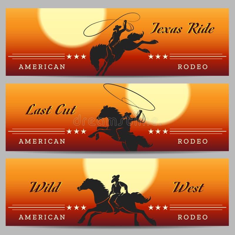 Cowboy Banner Set de rodéo illustration stock
