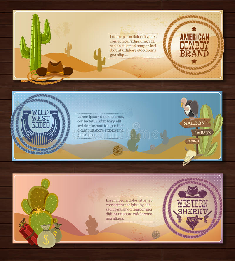 Cowboy Banners Set stock illustration