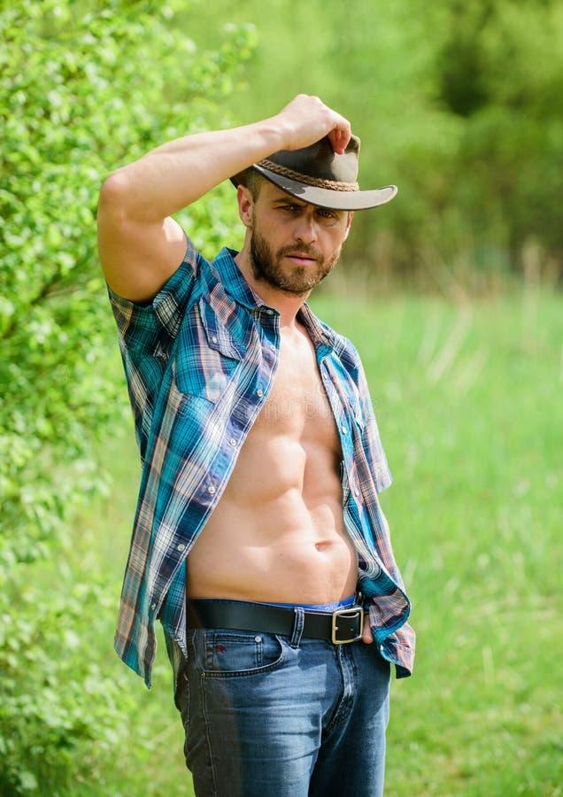 Cowboy barbuto del tipo in natura I sei pacchetti macho del torso portano i vestiti ed il cappello da cowboy rustici di stile For fotografie stock libere da diritti