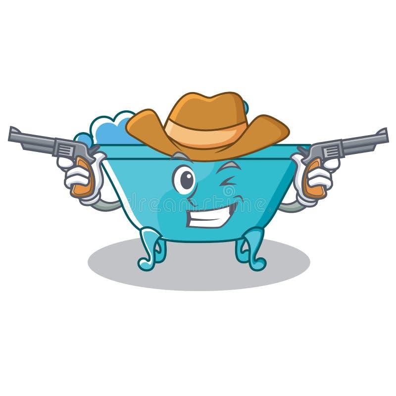 Cowboy bathtub character cartoon style stock illustration