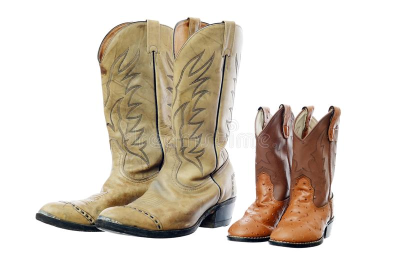 Cowboy boot and Children's boot stock photo