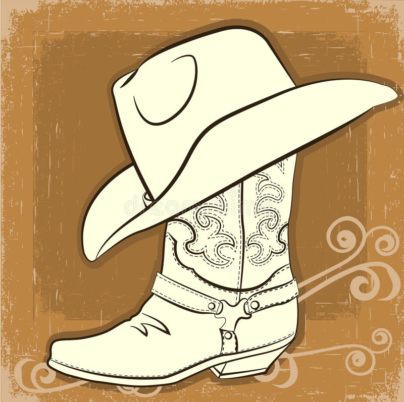 Cowboy Boot And Hat Vector Vintage Image Stock Vector