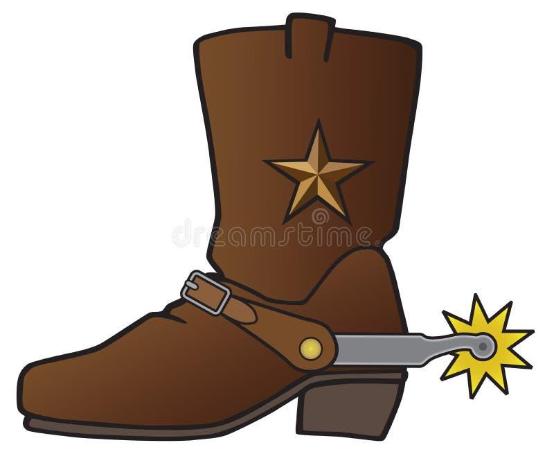 Cowboy Boot met Aansporing royalty-vrije illustratie