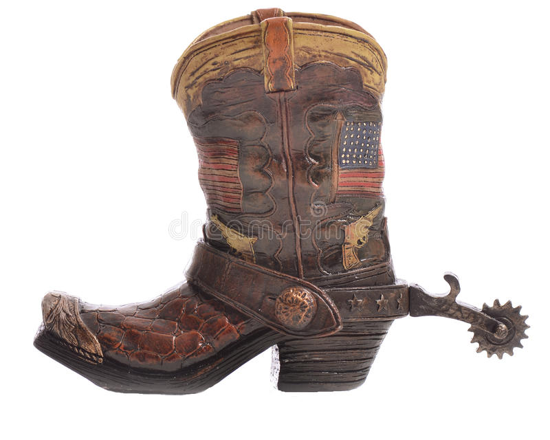 Cowboy Boot met Aansporing stock afbeeldingen