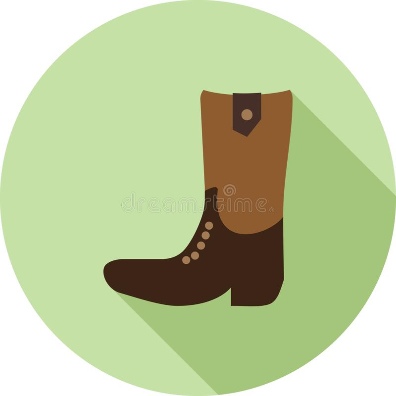 Cowboy Boot. Boot, cowboy, wild icon vector image. Can also be used for wild west. Suitable for web apps, mobile apps and print media stock illustration