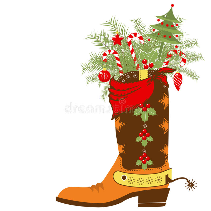 Free Cowboy Boot With Christmas Elements Isolated On Wh Stock Photos - 34699363
