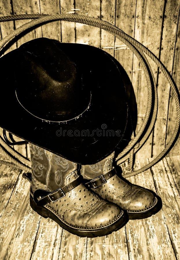 Cowboy Boots Hat et corde images libres de droits