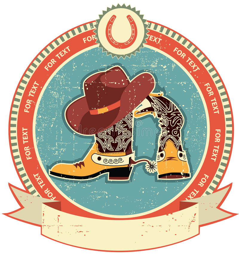 Cowboy boots and hat label vector illustration