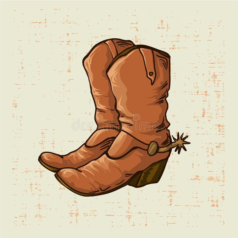 Free Cowboy Boots In Old Style With Grunge Screen Background Royalty Free Stock Photos - 117804278