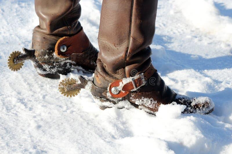 Cowboy Boots nella neve fotografie stock libere da diritti
