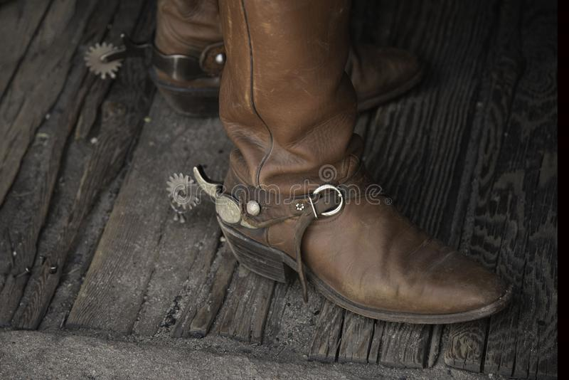 Cowboy boots with spurs royalty free stock photo