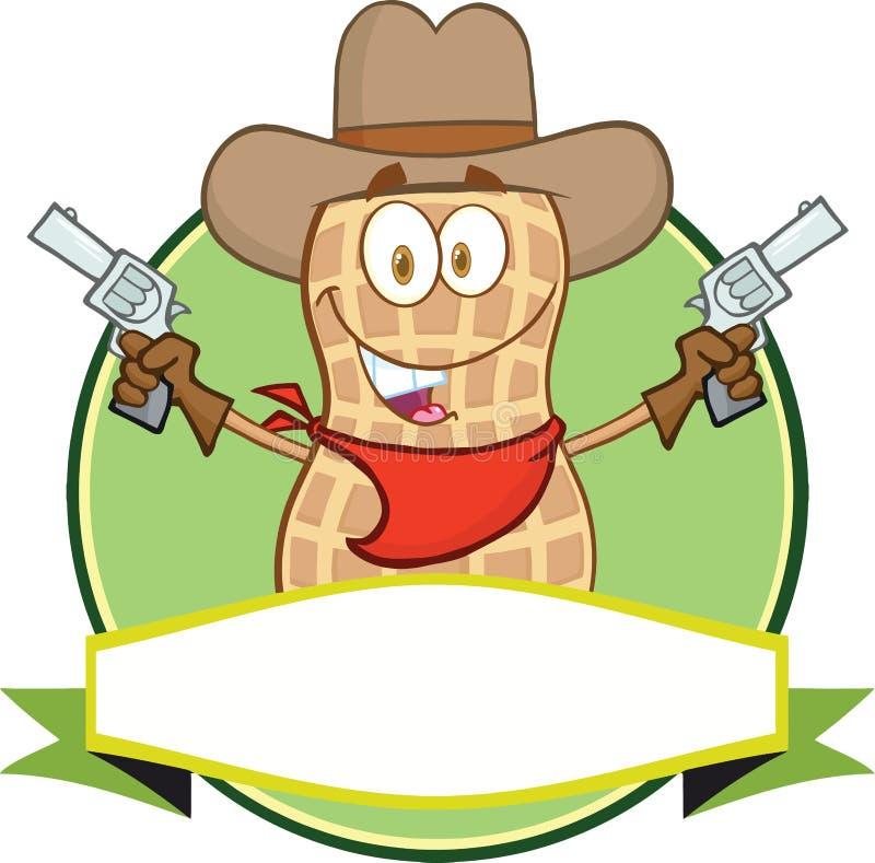 Cowboy Cartoon Label d'arachide illustration stock