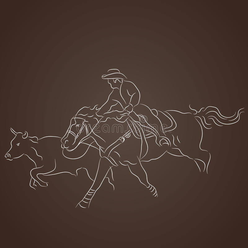 Cowboy Catching Cattle illustration stock
